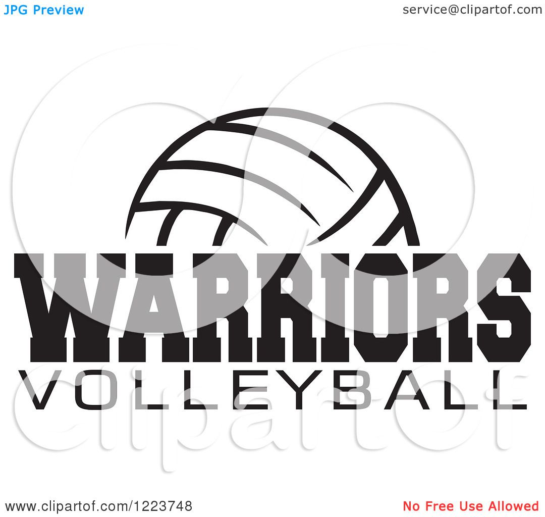 Clipart Of A Black And White Ball With Warriors Volleyball Text Royalty Free Vector Illustra Free Vector Illustration Senior Night Posters Volleyball Clipart