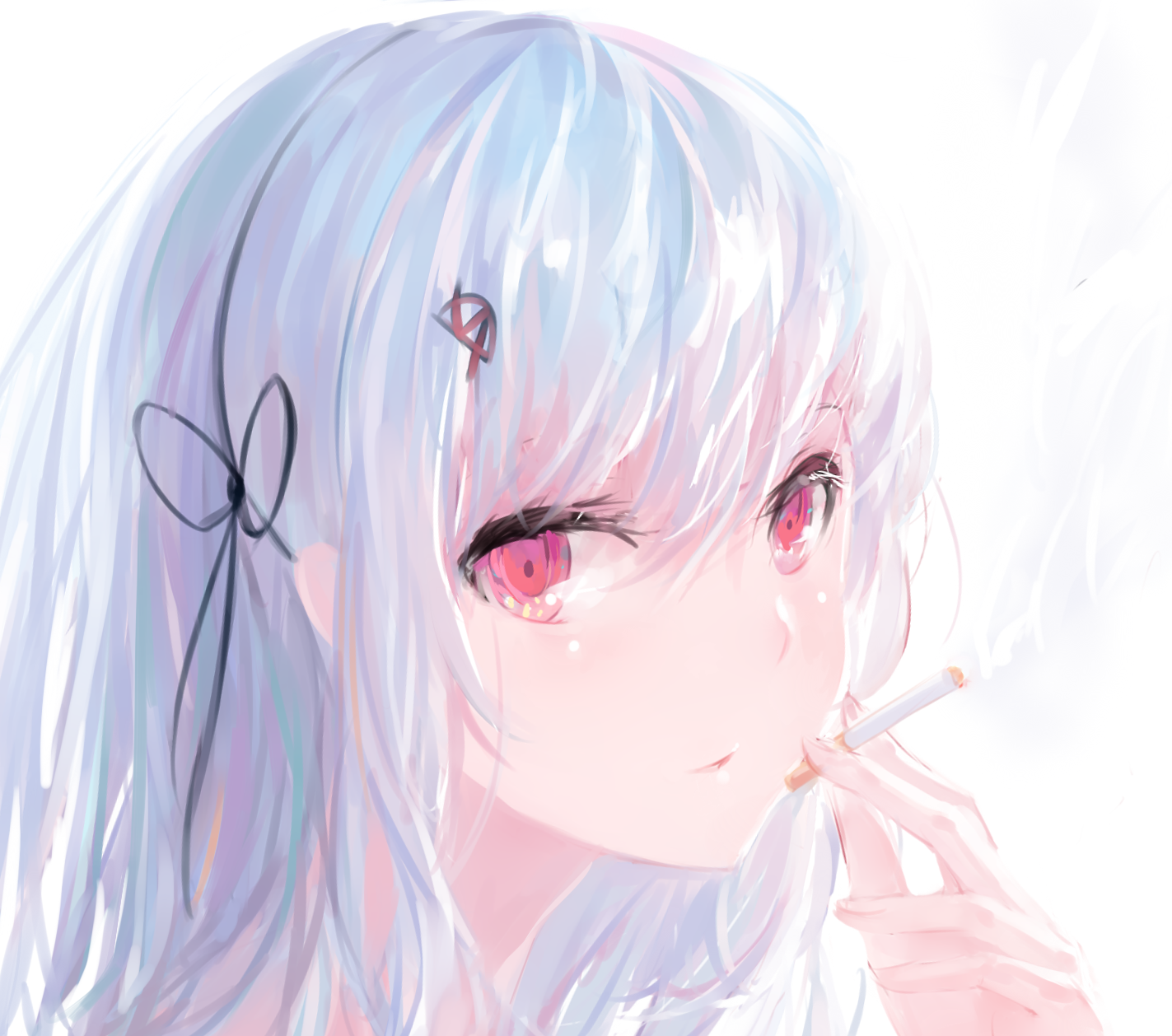 Anime Girl With Silver Hair Uphairstyle