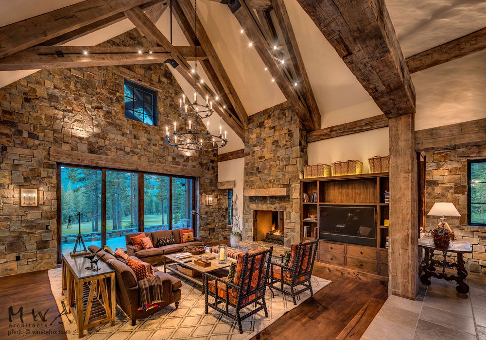 Martis Camp, Great Room, Mountain Lodge Style, Heavy Timber Trusses, Stone  Wall