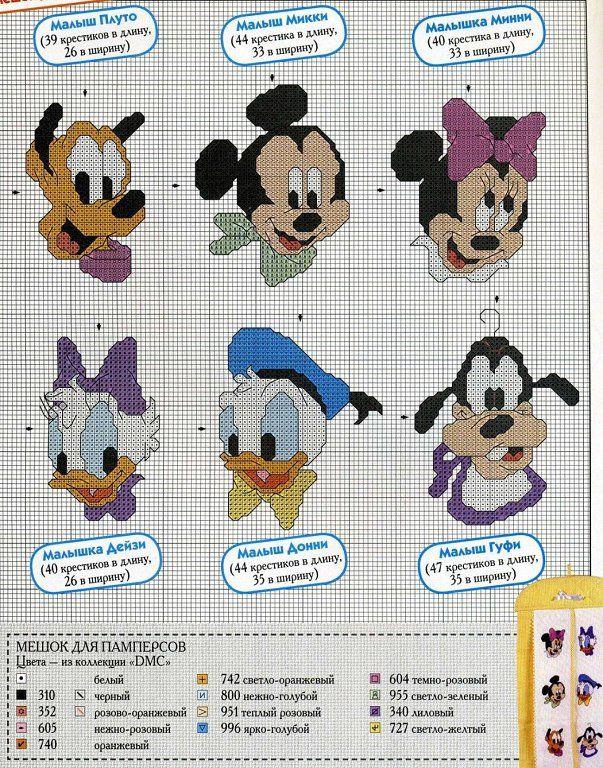 Punto de cruz Mickey Mouse bebé - Imagui | Disney en punto cruz ...