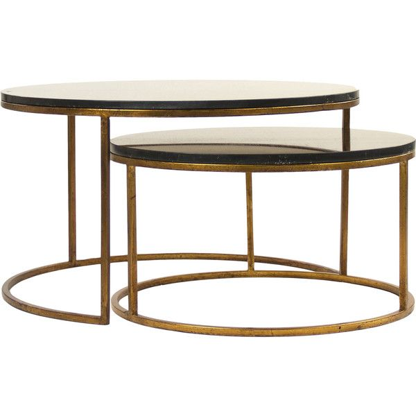 Leona Modern Black Polish Antique Gold Nest Coffee Tables 2 243 Liked On Polyvore Featuring Home Furniture Tables Round Coffee Table Contemporary Coffee Table Black Coffee Tables