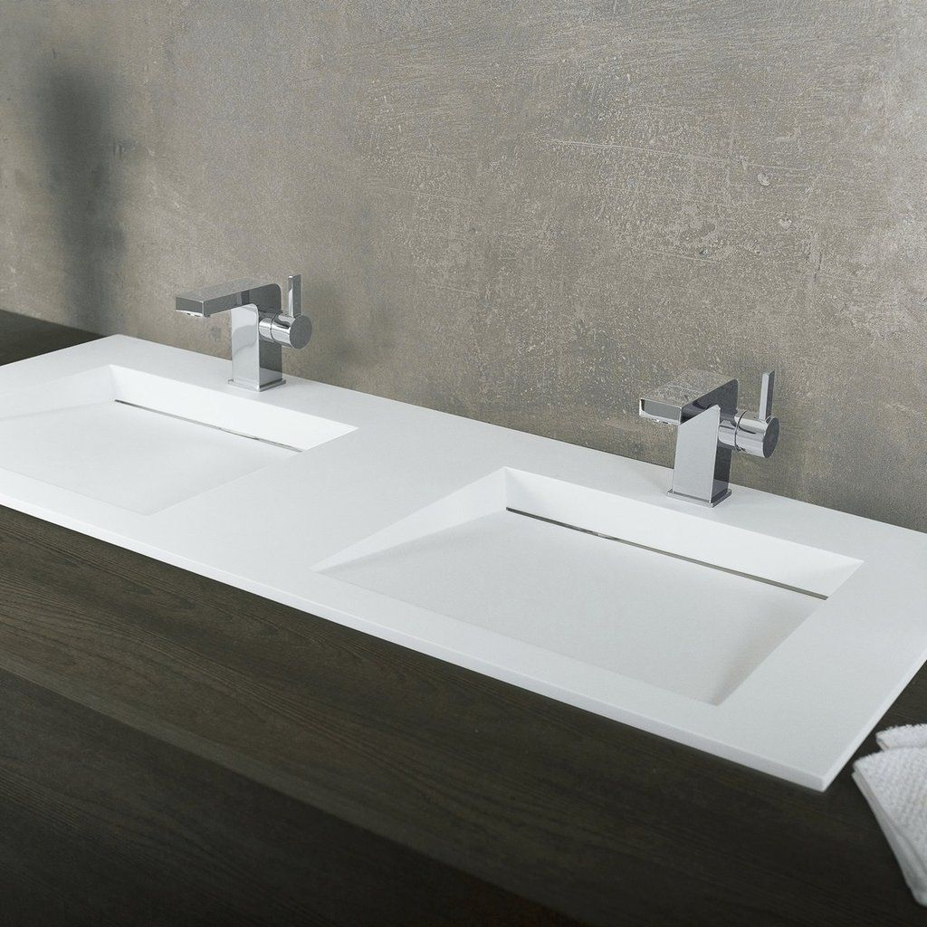 Dax Solid Surface Rectangle Double Bowl Top Mount Bathroom Sink White Matte Finish 47 1 4 X 19 2 3 X 3 3 4 Inches Dax Ab 1332 Bathroom Renovation Cost Top Mount Bathroom Sink Bathroom Layout