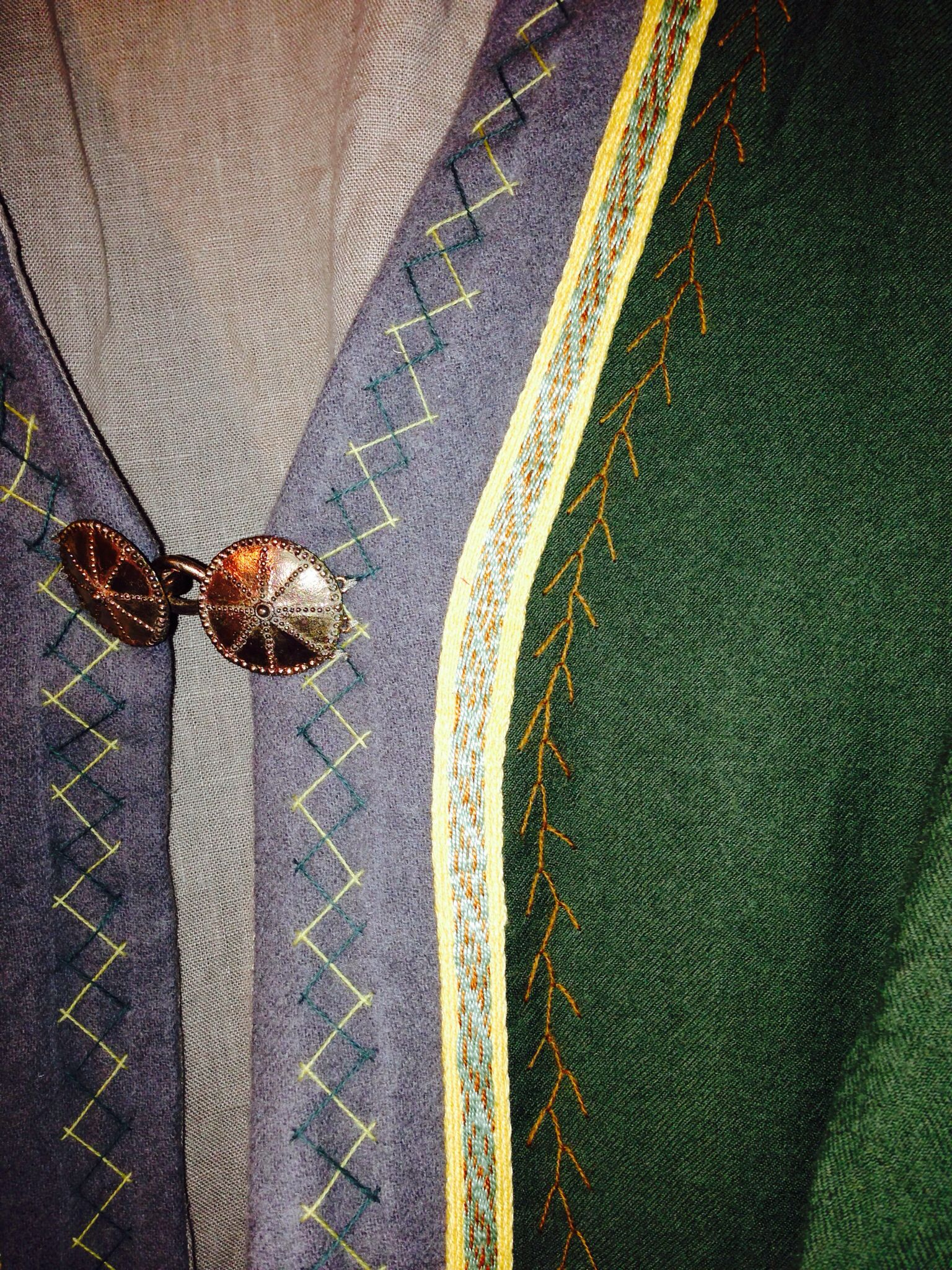Embroidery and trim detail on Viking Kaftan. By BadAss Garb | SCA ...