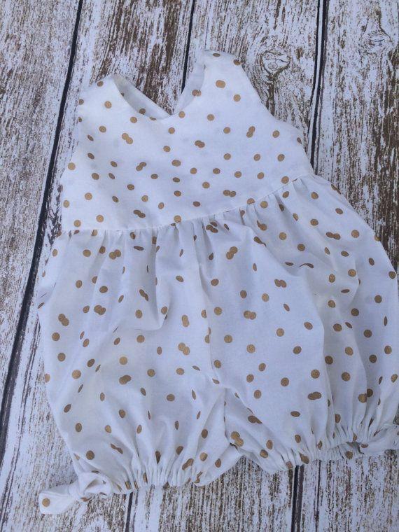 eca892567011 Baby Girls Bubble Romper - Baby Romper - Baby Girls White and Gold Spring  Romper - Bubble Romper - Baby Girls Summer Romper - Girls Romper