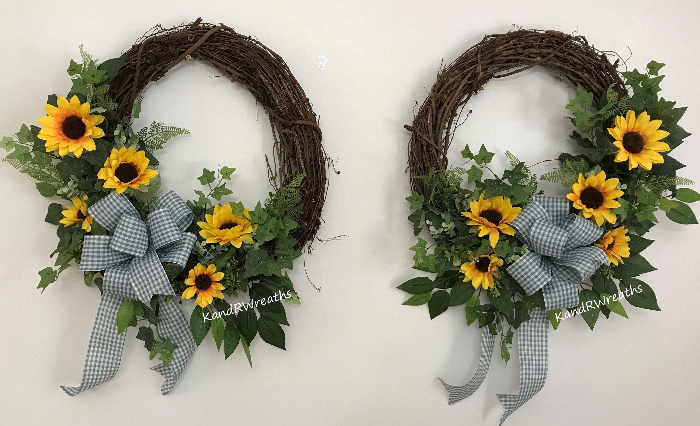 Photo of 331SD19 Sunflower Wreath. Summer wreath. Double door wreath. Double Front Door W …