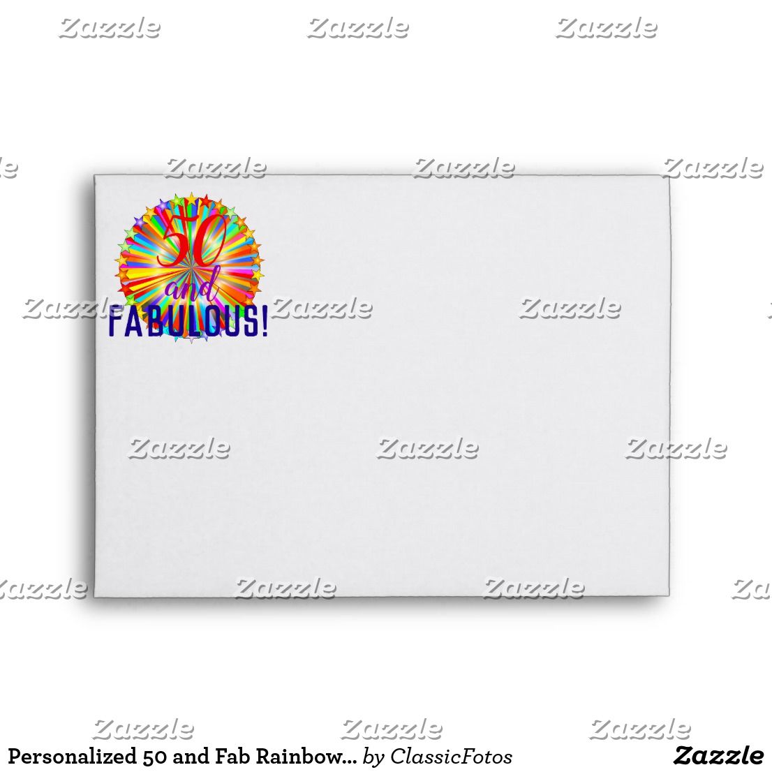 Fab Template: Personalized 50 And Fab Rainbow Starburst Birthday