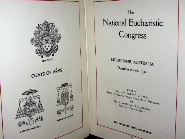The programme for the 1934 National Eucharistic Congress in Melbourne