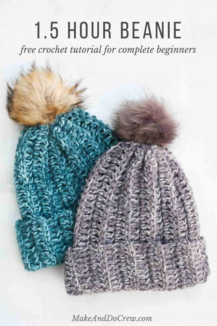 1 Hour Free Crochet Hat Pattern For Beginners Step By Step Video Tutorial Easy Crochet Hat Crochet Hat Free Crochet Beanie Pattern