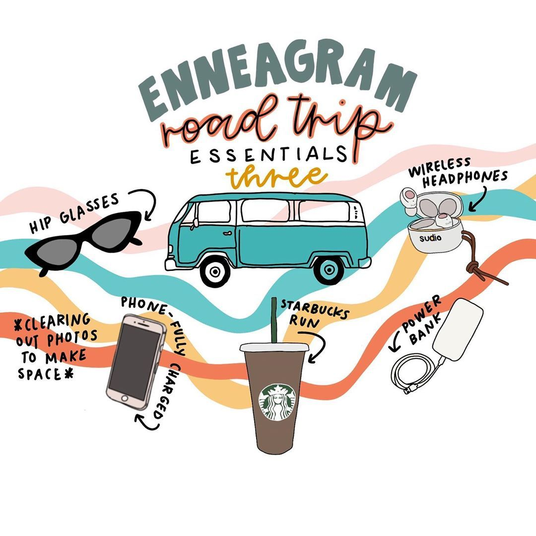 """Erin Roach's Instagram profile post: """"The enneagram three road trip essentials have just rolled up. 🚗 Who is your favorite type three to road trip with? ✨ . . . . . . . . . . .…"""""""