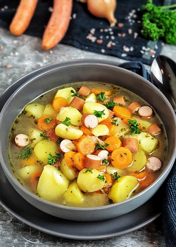 Kartoffel Möhren Suppe mit Würstchen   Lydiasfoodblog