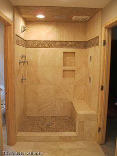 Walk-In Tile Shower Designs | - Travertine tile install Atlanta GA ...