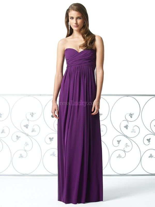 Purple Sheath/Column Empire Sleeveless Long/Floor-length Chiffon ...