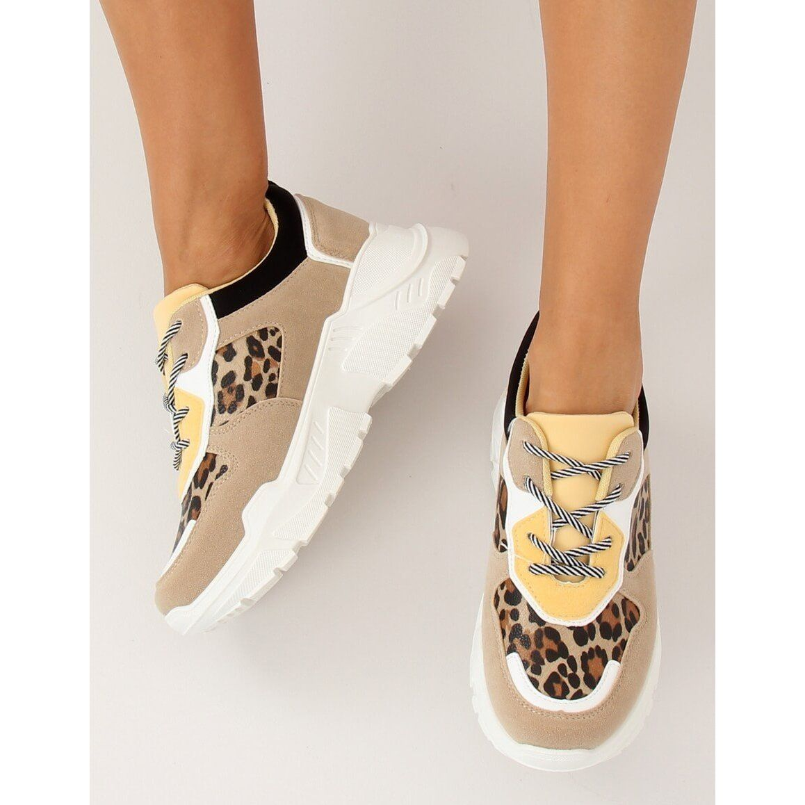 Buty Sportowe Bezowe Lv88p Leopard Bezowy Shoes Lace Heels Sports Shoes