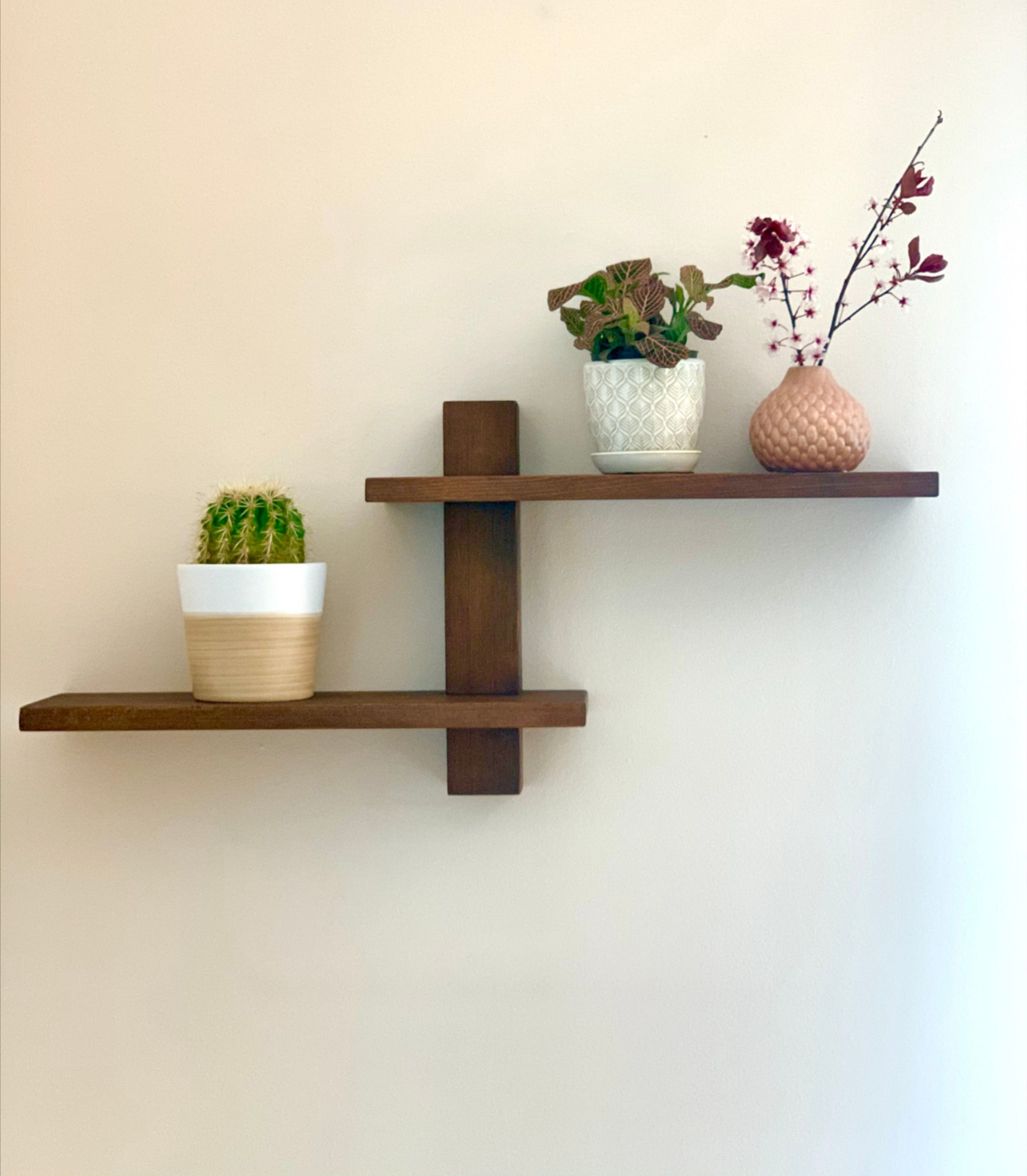 Art Deco Minimalist Wood Hanging Shelves Office Entryway Kitchen Or Bathroom Wall Shelf Mid Century Decor Wedding Housewarming Gift In 2021 Decor Wall Shelves Shelves