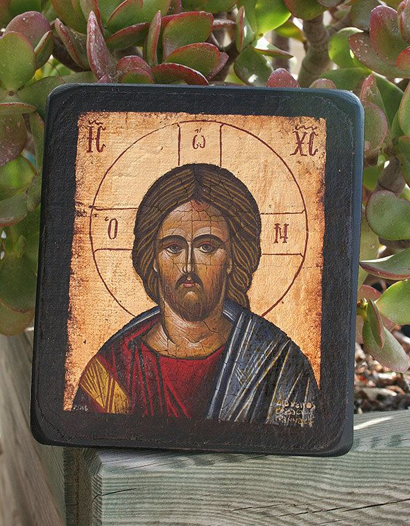 Handpainted Byzantine icon Jesus Christ gold by Sebamadeit on Etsy