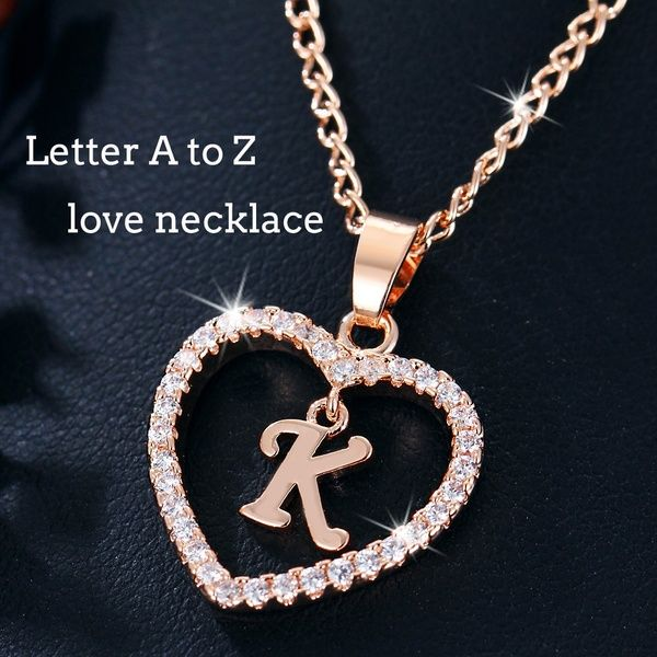 26 Letters Silver Gold Plated Heart Chain Necklace Alphabet Initial Necklace Letter A To Silver Bracelet Designs Bangle Bracelets With Charms Initial Necklace