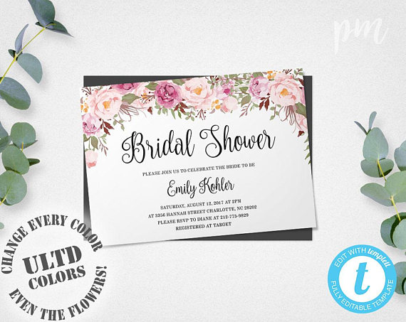 Bridal Shower Template Floral Bridal Shower Invitation Template Printable Bridal Shower .