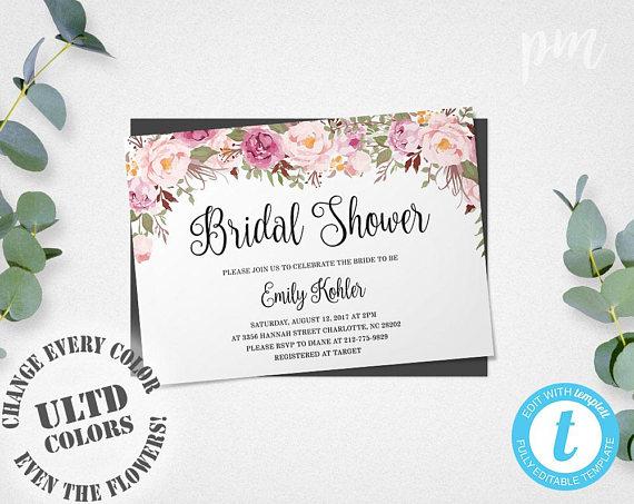 Bridal Shower Template Alluring Floral Bridal Shower Invitation Template Printable Bridal Shower .