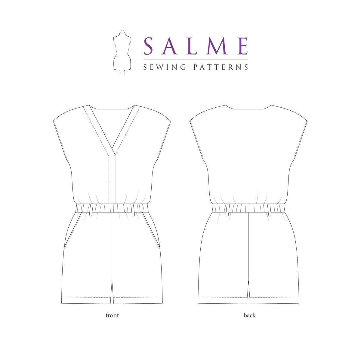 Sewing Pattern - Playsuit technical drawing | Sewing | Pinterest ...
