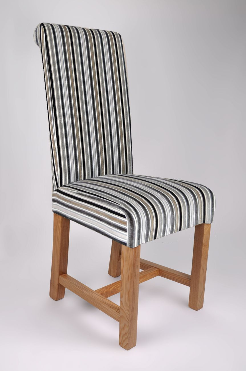 Richmond Jupiter Silver Stripe Fabric Dining Chair