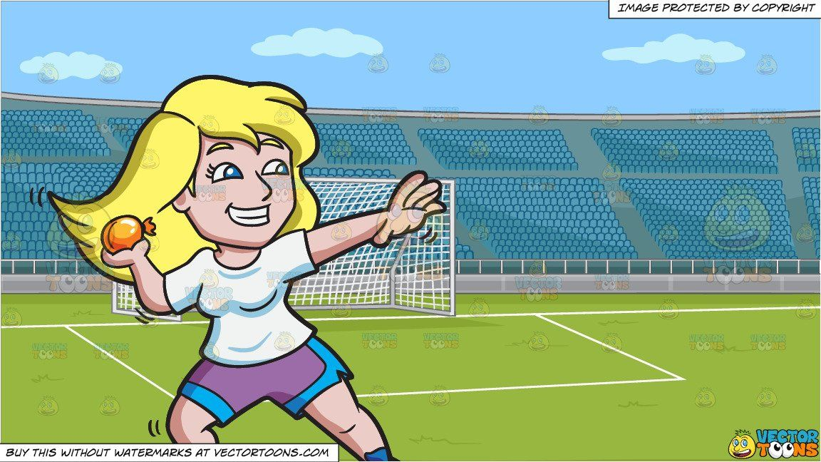 A Happy And Playful Woman Throwing A Water Balloon And A Soccer Field With Stadium Seating Background Soccer Field Water Balloons Stadium