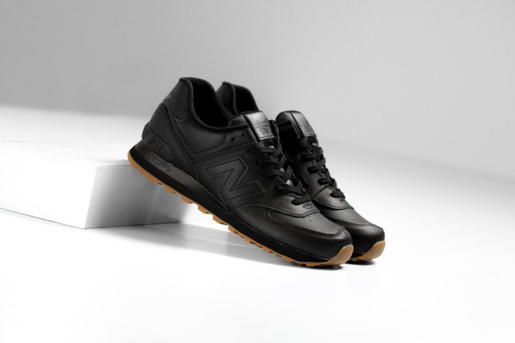 new balance 574 black leather wide