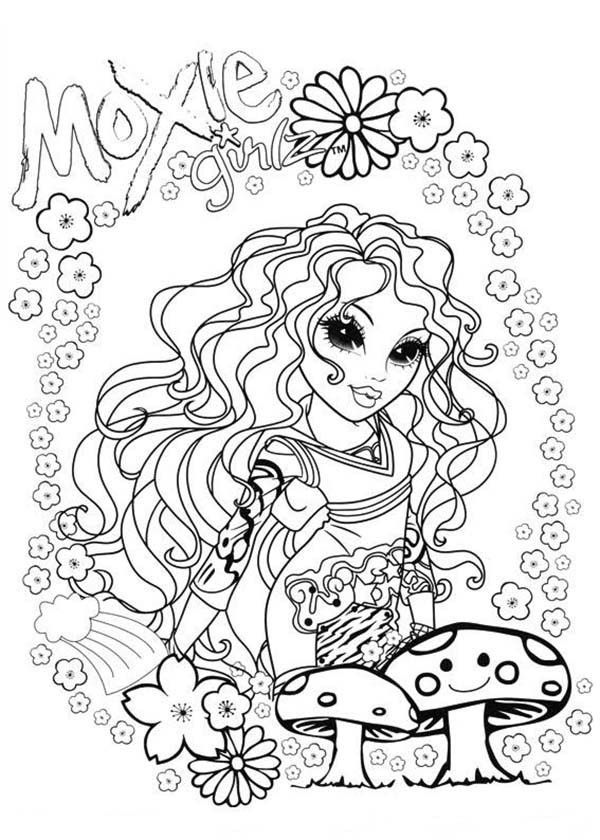 Moxie Girlz Sophina And Mushroom In Moxie Girlz Coloring Pages