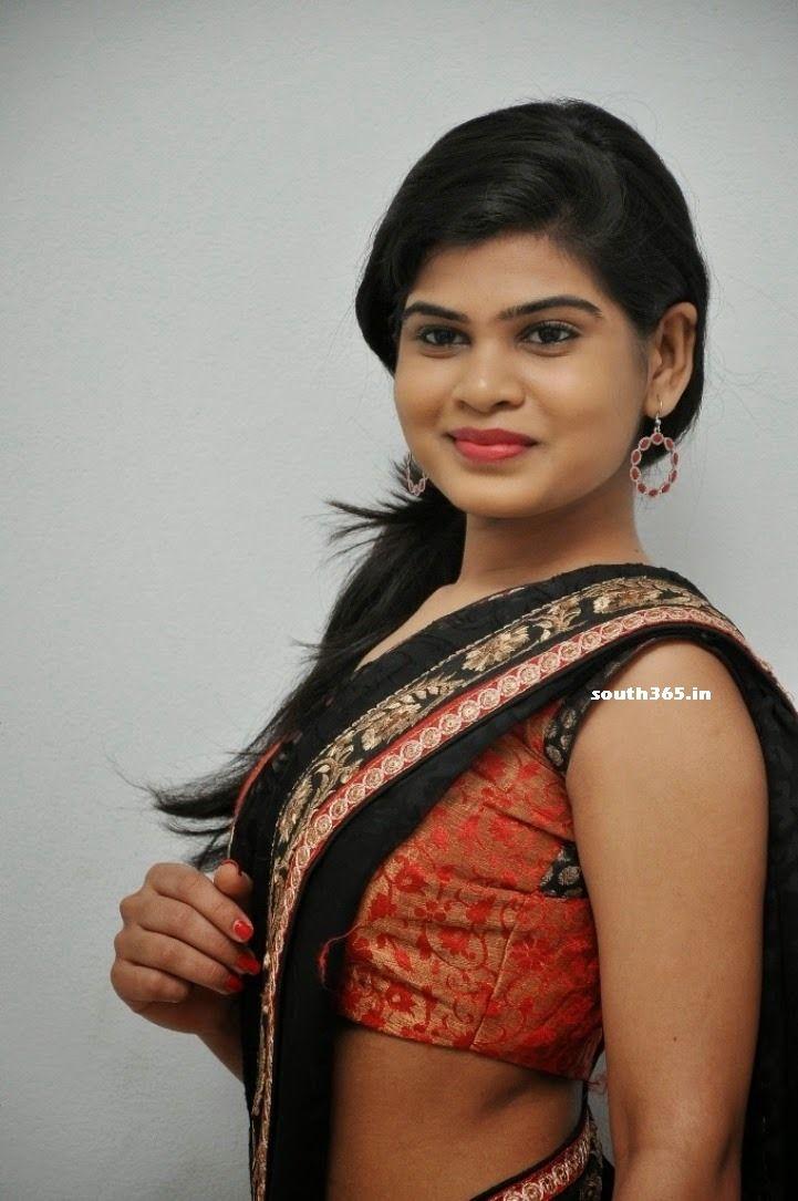 Alekhya Angel In Black Saree At Veerudokkade Telugu Movie Songs Launch (18) at Alekhya Angel At Veerudokkade Songs Launch  #AlekhyaAngel