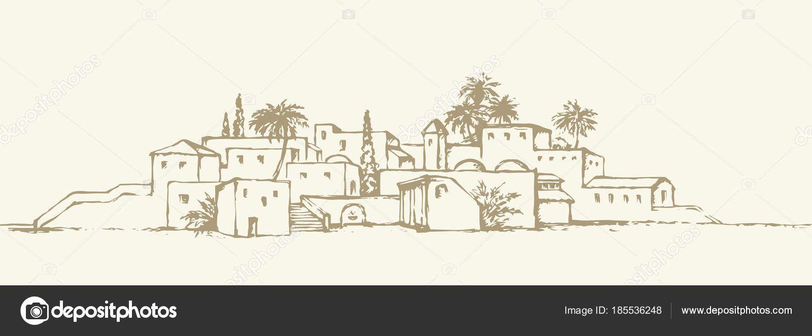 Stadt In Der Wüste Vektor Zeichenprogramm Stockvektor Vektorzeichnung Zeichenprogramme Zeichnungen