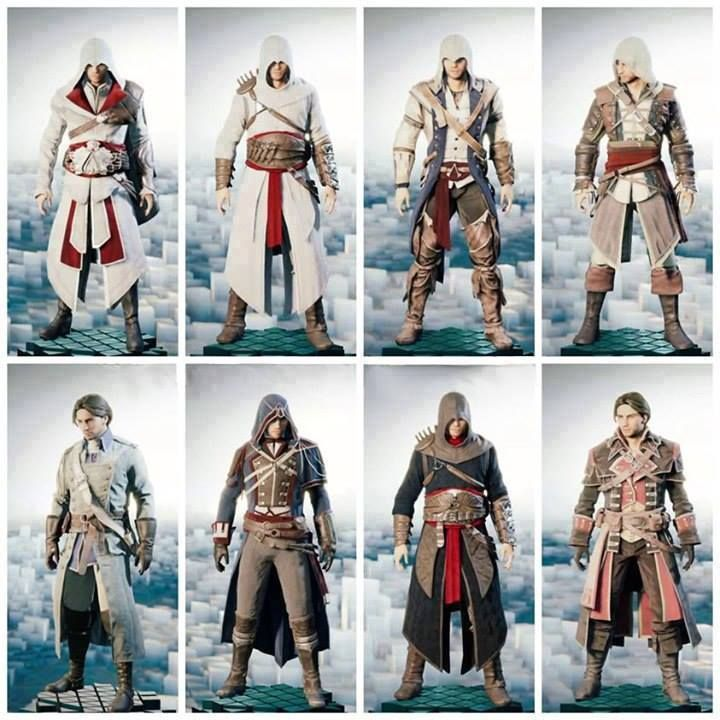Ac Unity Outfits Left To Right Ac Brotherhood Ezio Ac1 Altair