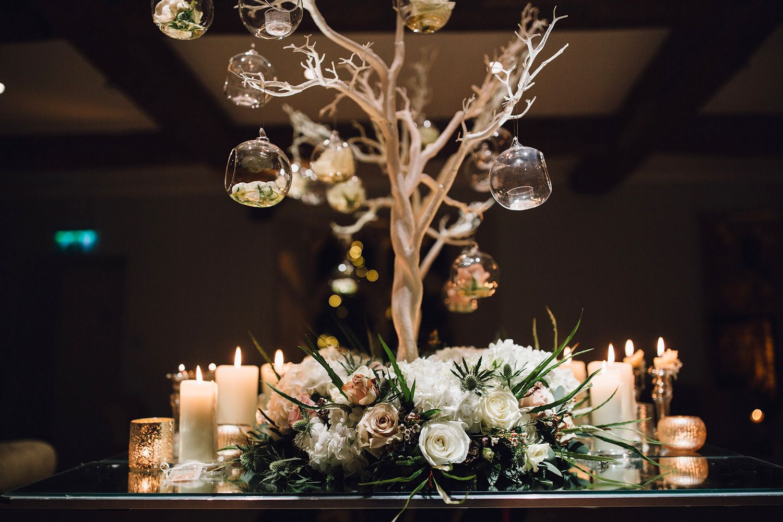 Christmas Wedding Centrepiece With Manzanita Tree Floral Base