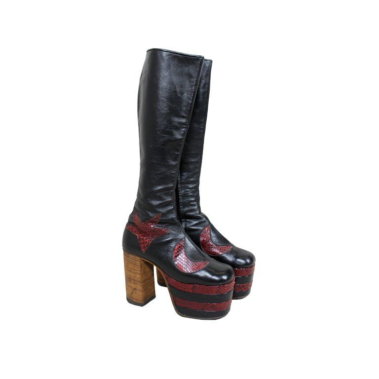 Bowie Platform Glam 1 Style Rock 1970s Leather Boots David myn80OvNw