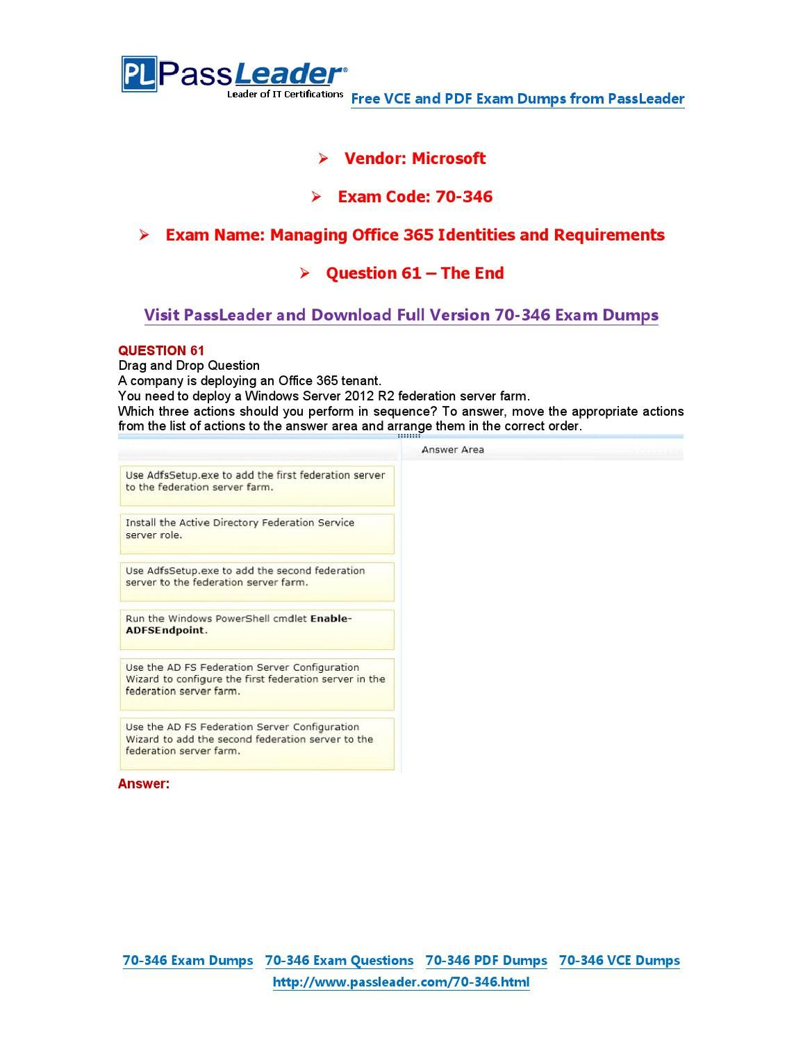 70 346 Exam Dumps With Pdf And Vce Download 61 End 70 346 Exam