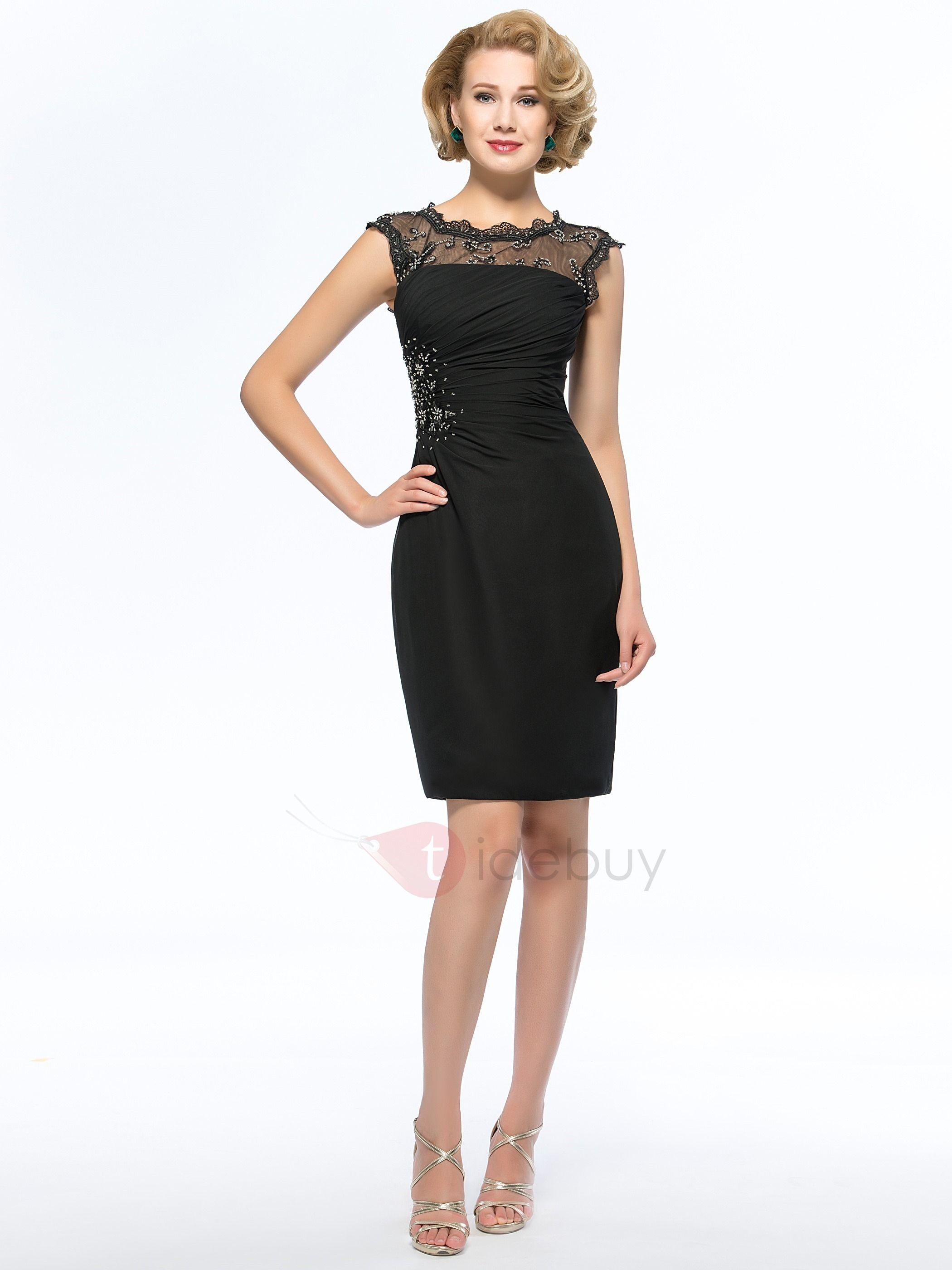 Sheer lace jewel neck short black mother of the bride dress black