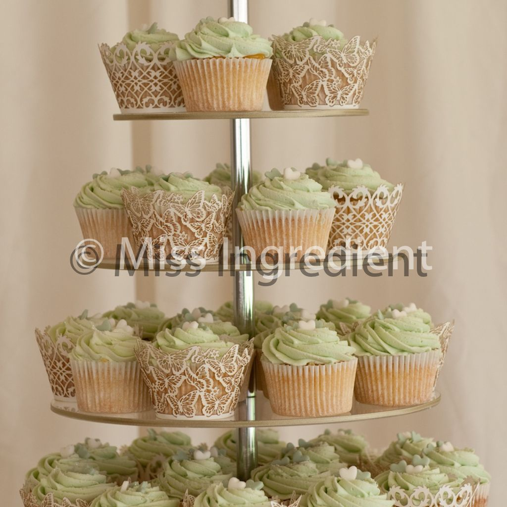 Cool And Classy Sage Green Bridal Shower Cupcakes Wedding Cake