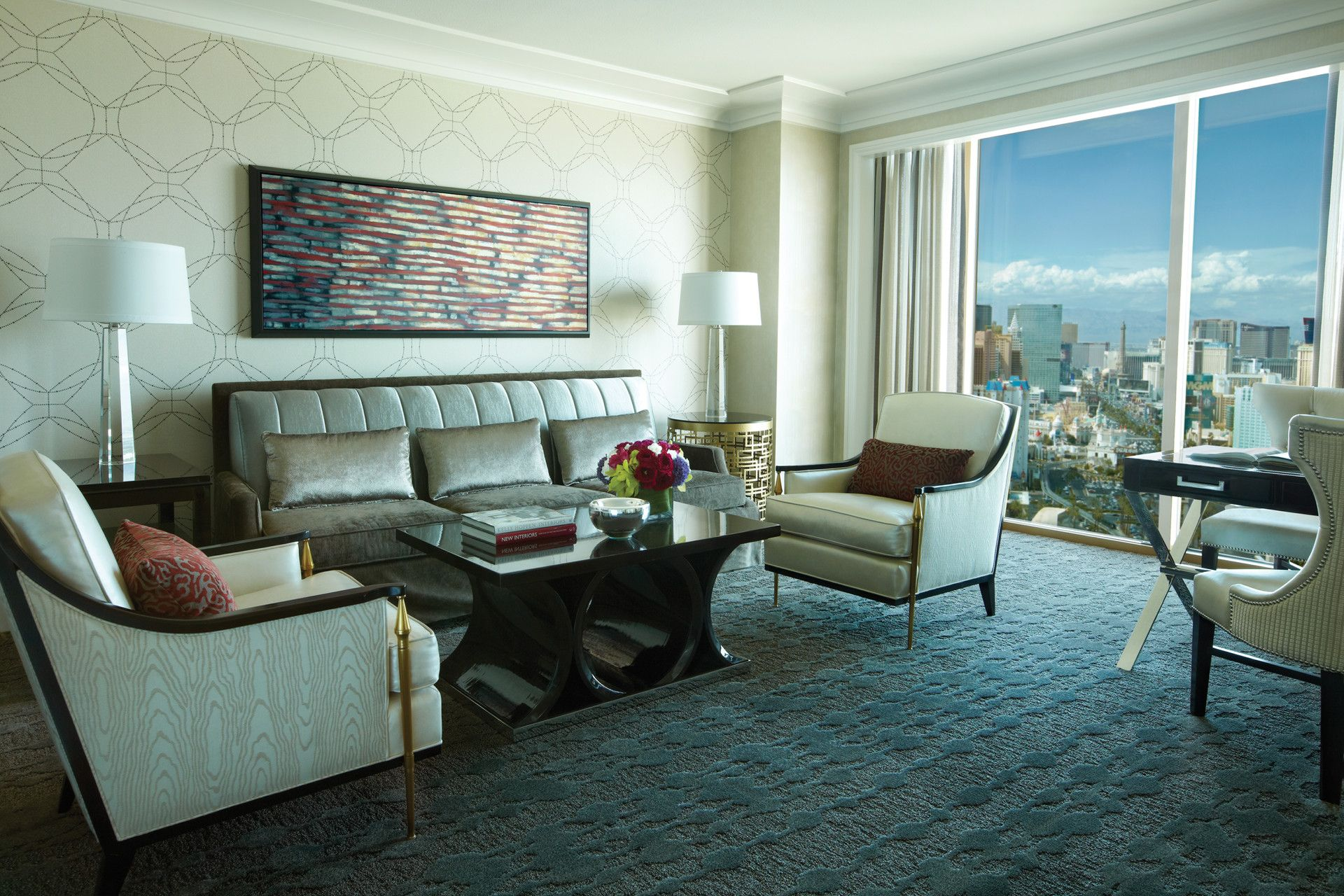 The Living Room Of Our Restyled Premier Strip View Suite Las