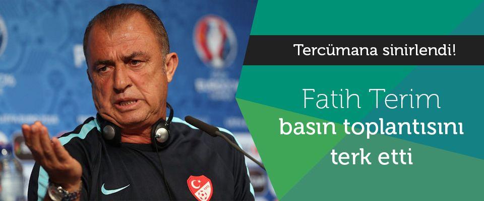 Türkiye Futbol Direktörü Fatih Terim, İspanya maçı öncesinde düzenlenen basın toplantısında tercümana sinirlendi.