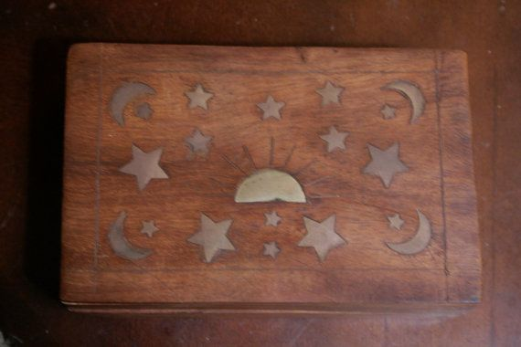 April Sale - Moon Star & Sun Wooden Box With Brass Inlay by andantiques, $14.00