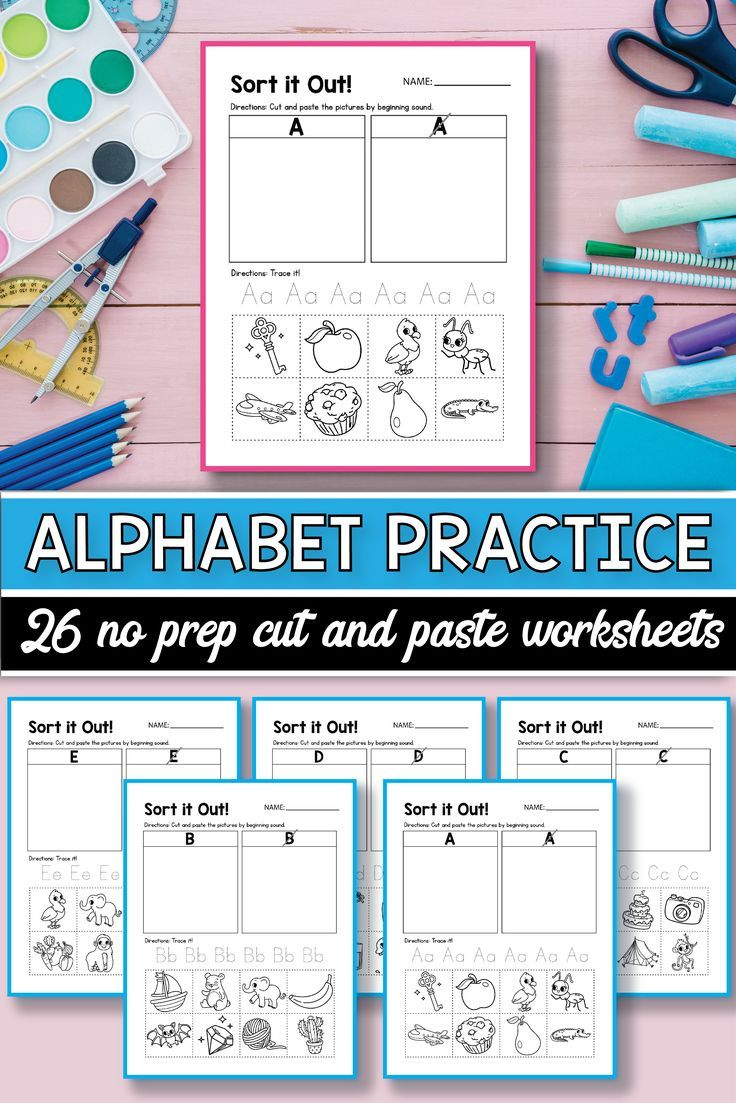 Beginning Sound Cut & Paste Alphabet Worksheets, Alphabet Cut ...