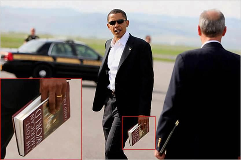 "MORE CRAP MADE UP   SOMEONE WAS AT THE RIGHT PLACE AT THE RIGHT TIME WITH A CAMERA. IT WAS REPORTED THAT PRESIDENT OBAMA WAS FURIOUS THAT HE WAS CAUGHT ON CAMERA AND IT WAS PUBLISHED AND TRIED TO BLOCK IT.  The name of the book Obama is holding is called: The Post-American World, and it was written by a fellow Muslim.(Fareed Zakaria) ""Post"" America means: The World ""After"" America"