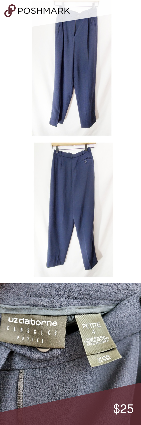 🌼 VTG 90s LIZ CLAIBORNE Navy Blue Tapered Pants Authentic vintage 90s Liz Claiborne high waisted tapered pants. Cute with a silk cami. Size 4 Petite.  13