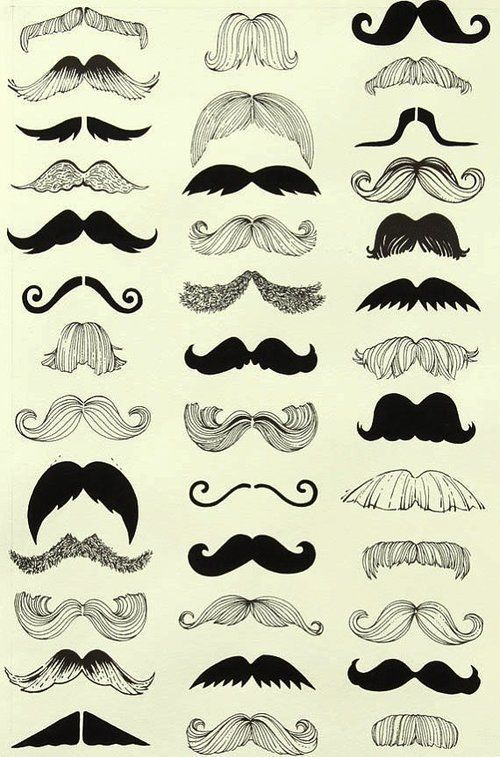Mustaches   some of these look like wings in a Victoria's