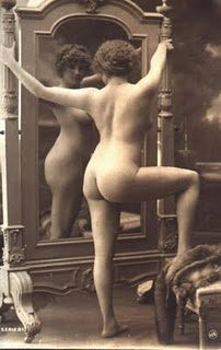 lady standing with Mirror nude A