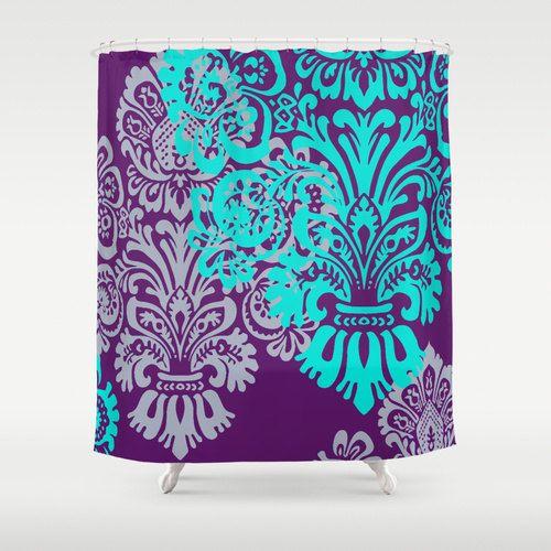 Bold Jewel Tone Damask Shower Curtain Romantic Bathroom Decor