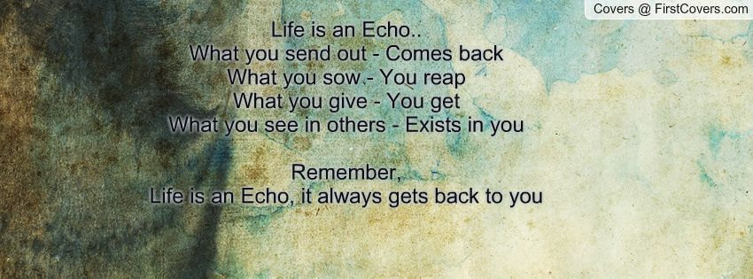 You Get What You Give Quotes | Life Is An Echo.. What You Send Out   Comes  Back What You Sow   You .