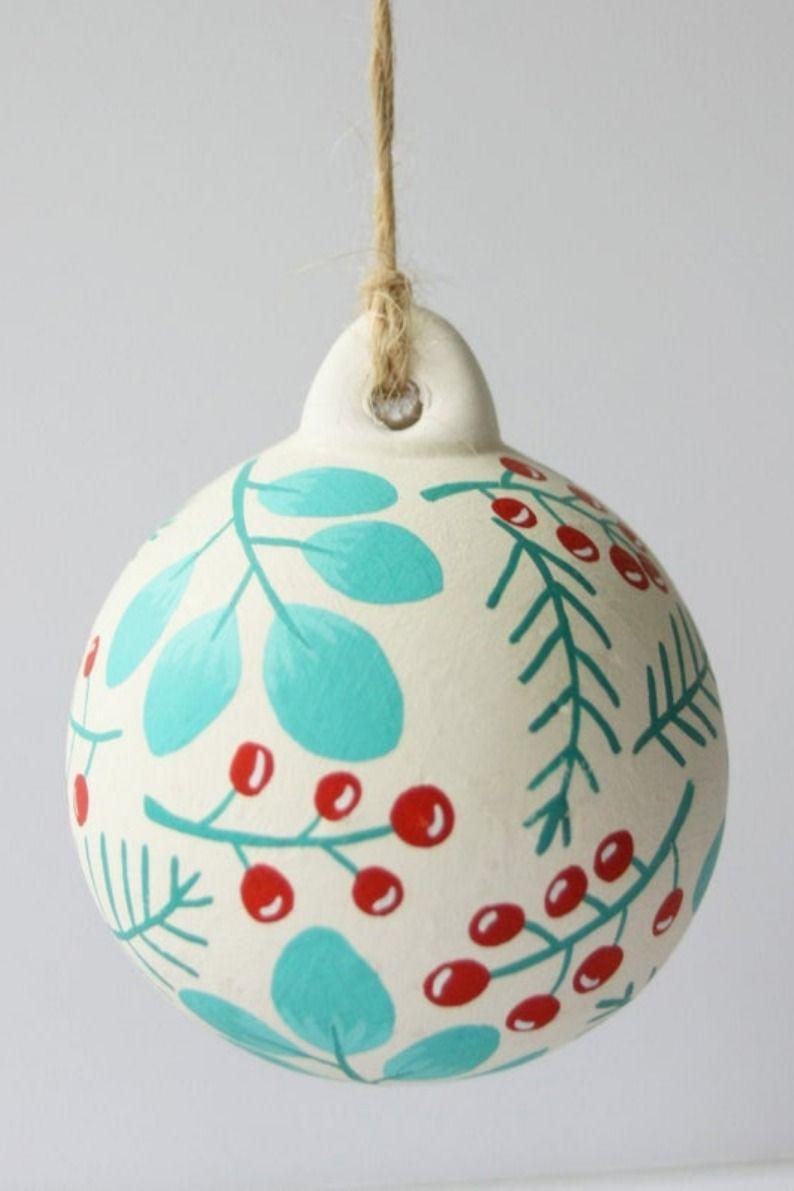 Hand Painted Ceramic Christmas Bauble Handmade Ornament Illustration Hand Painted Bauble Christmas Baubles Hand Painted Ceramics