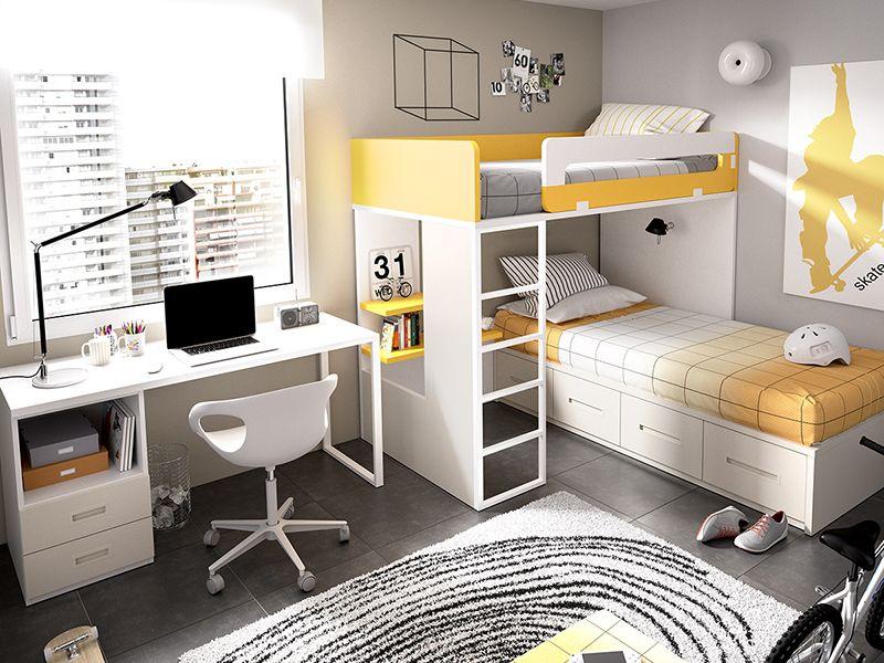 Habitaciones juveniles literas abatibles o literas tipo - Habitaciones infantiles tren ...