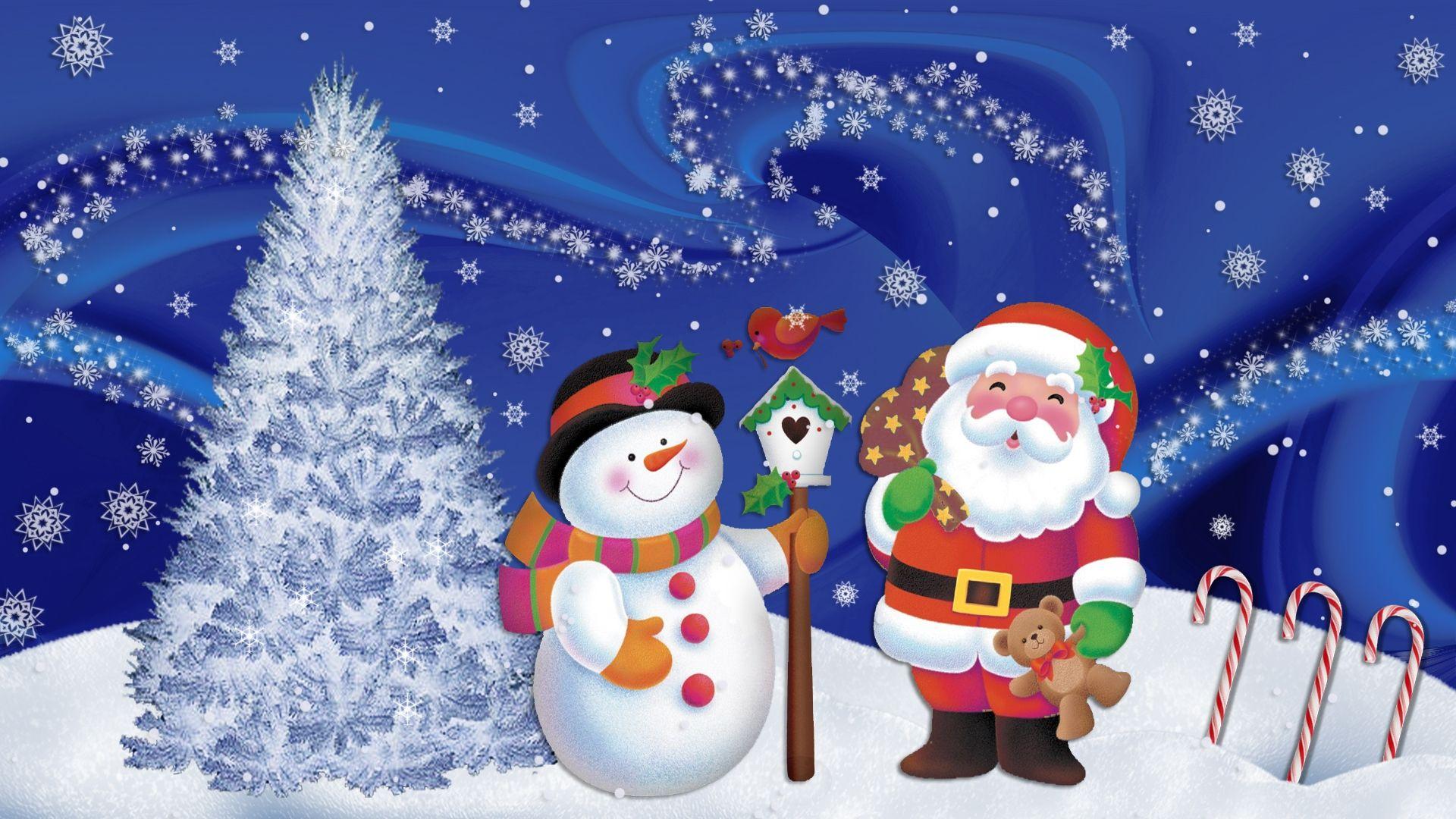 christmas wallpapers santa claus and snowman - Santa And Snowman