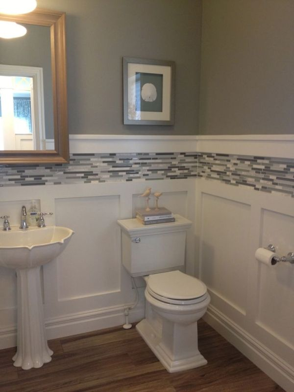 White board and batten wainscot with glass tile inlay by - Bathroom remodel ideas with wainscoting ...