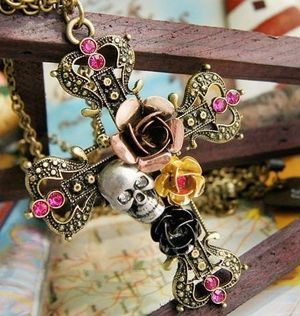 cross,skull & flowers necklace..love it :)